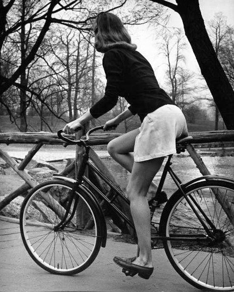 Photo: Nina Leen, 1945. *Reminds me of an anti depressant commercial when the lady is riding the bike like not smiling*
