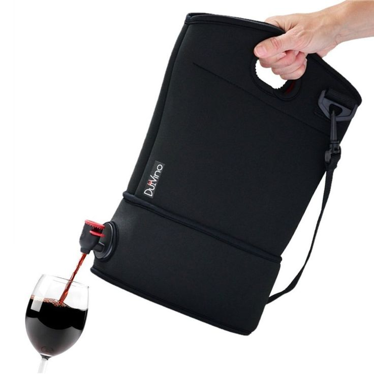 Wine travel made easy. Neoprene wine purse with 2 refreshment baggies holds 4 bottles of wine. Comfortable design with shoulder strap. Unique gift Idea.