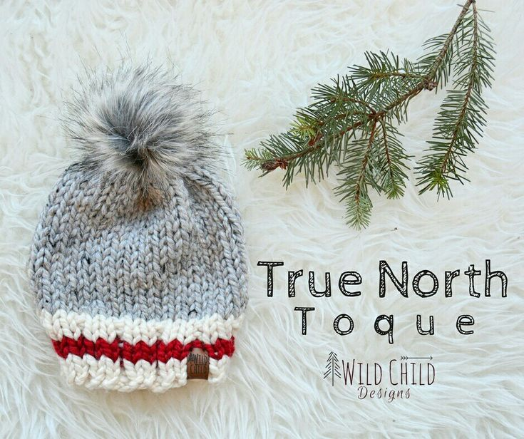 The True North toque - Inspired by classic Canadian winter style. This handmade knit hat is made with cozy wool/acrylic blend yarn and topped with a faux fur pom pom.