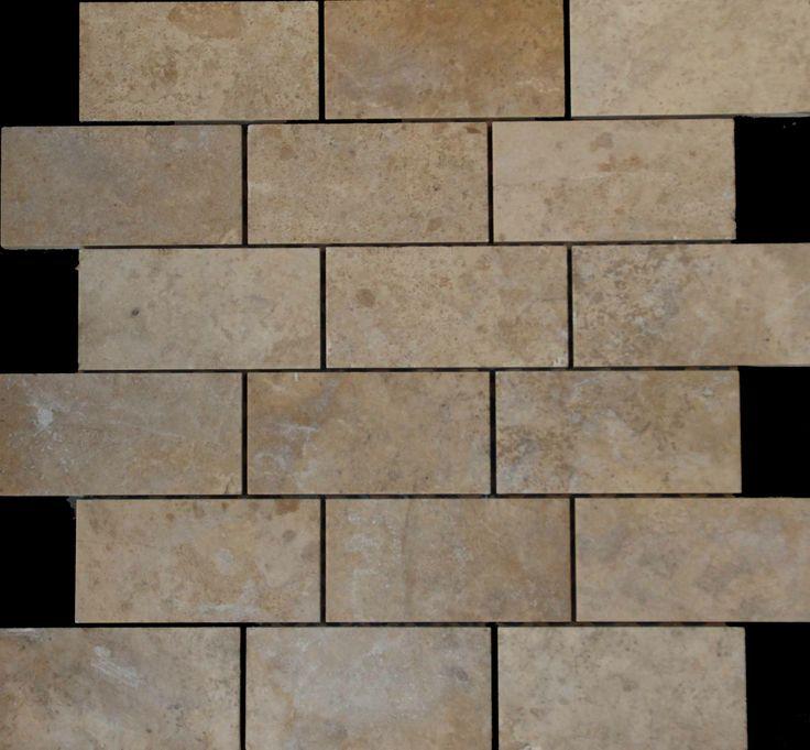 Mozaika marmurowa -  Kolekcja: Brico 510; Kod: B51010; Wykończenie: ANTICO; Materiał: Santorini; Wym. Kostki: 5,0x10 cm; Wym. Plastra: 33,5x31,1 cm