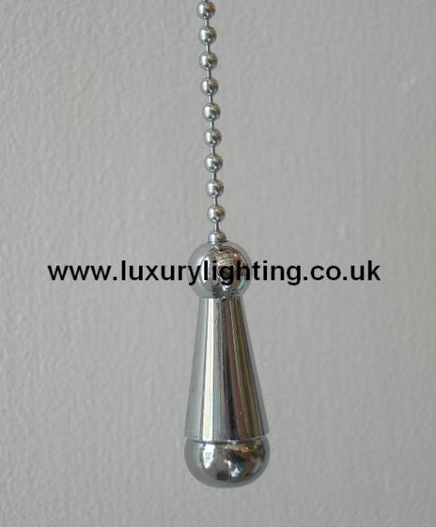 Polished chrome finish pull chain suitable for use on ceiling pull