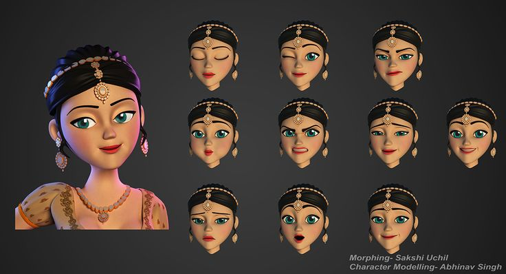 3d Character Design Behance : Indian bride morphing expressions d character girl woman