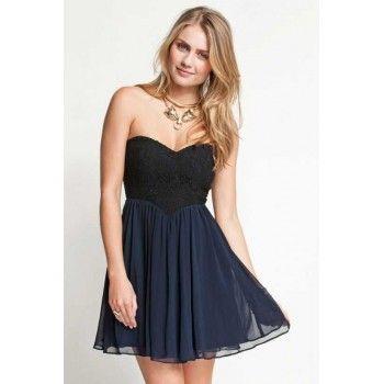 Siyah Üstü dantel Mini Elbise