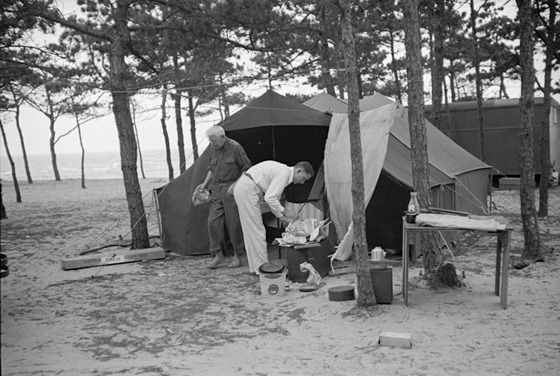 Camping scene at auto trailer camp at Dennis Port, Massachusetts, by Carl Mydans, September 1936.