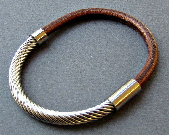 Stainless Steel Mens Bracelet Leather Mens Silver by GUSFREE