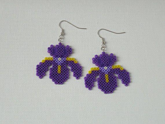 Purple iris flower earrings Hama mini. perler by Alsterbead