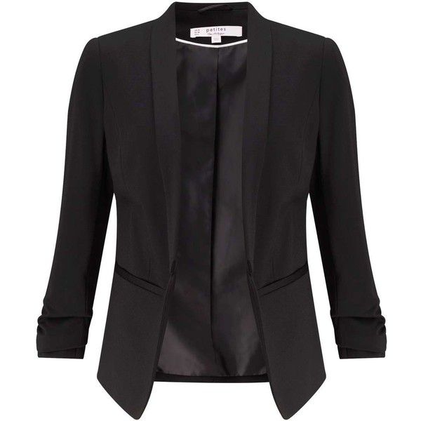 Miss Selfridge PETITE Black Ponte Blazer (£43) ❤ liked on Polyvore featuring outerwear, jackets, blazers, black, petite, ponte knit blazer, petite blazer, blazer jacket, petite blazer jackets and miss selfridge jackets