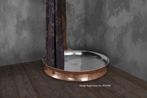 Copper Shower Tray 1190mm with Nickel Interior