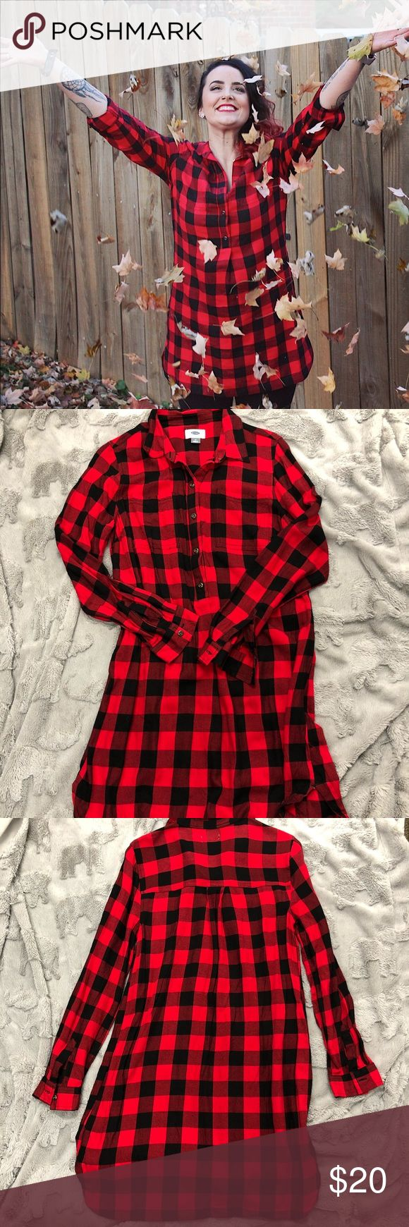 Old Navy Plaid Shirt Dress Adorable pullover shirt dress with black & red plaid. Great for year round wear. Can be layered for fall/winter or alone for spring/summer. Only worn twice & like new. Old Navy Tops Tunics