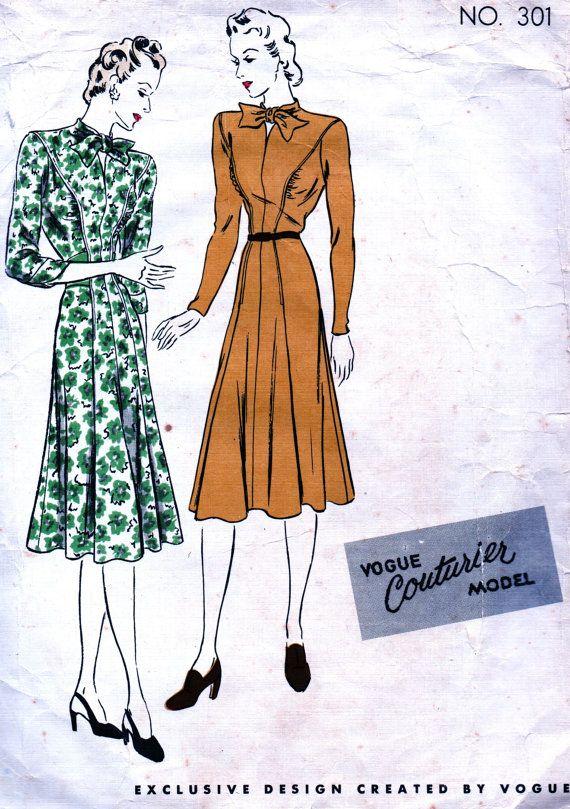 Vintage 1940 van Vogue Couturier patroon 301 - ELEGANTE missers een stuk Dress japon unieke Neckline - formaat 14 ** ZELDZAME