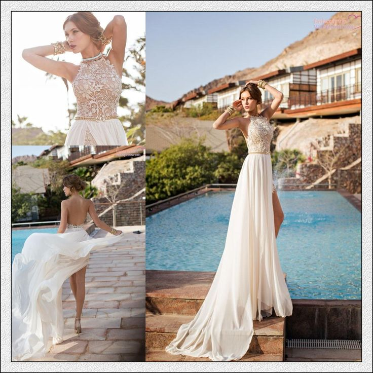 2014 New Arrival Sexy White Chiffon Beaded Appliques Lace Prom Dresses Long Halter Side Slit Spring Evening Party Gown BO5557