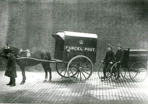 Horse-drawn mail van, 1887.