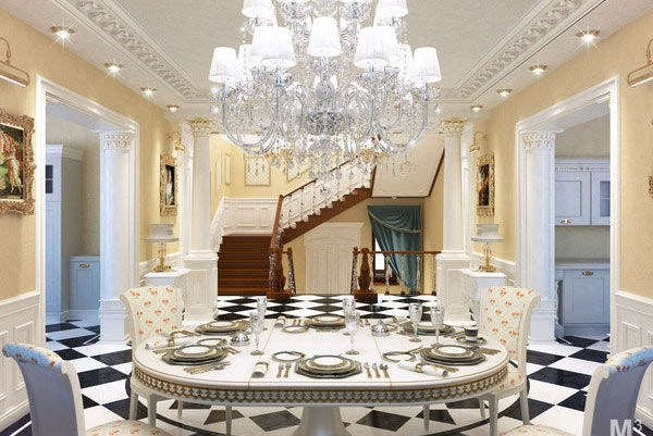 classical dining room set place