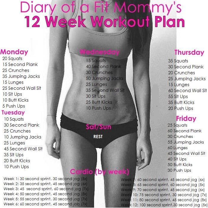Diary Of A Fit Mommy's 12 Week Workout Plan                                                                                                                                                                                 More