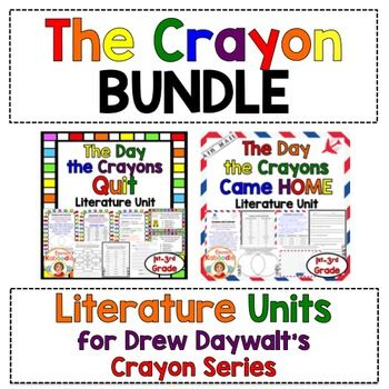 The Day the Crayons Quit by Drew DaywaltThe Day the Crayons Came Home by Drew DaywaltThese PDF products are zipped in one file and the links for each individual product can be found here:THE DAY THE CRAYONS QUIT LITERATURE UNITTHE DAY THE CRAYONS CAME BACK LITERATURE UNITThe Day the Crayons Quit:The Day the Crayons Quit, by Drew Daywalt is Common Core aligned and used to teach: compare and contrast, character traits, main idea/comprehension, adjectives, writing a friendly letter, writing and…
