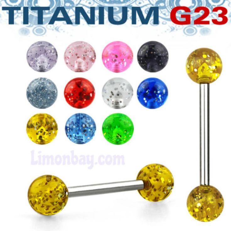 Piercings de lengua de Titanio con bolas en brillantina! http://www.limonbay.com/barra-titanio-con-bolas-brillantina shine!