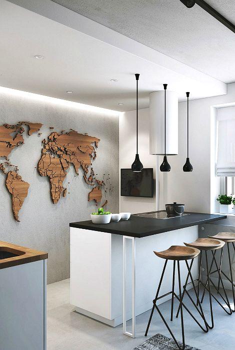 Объемная карта мира на стене.