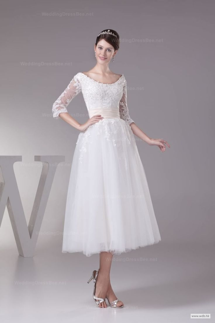 fall wedding Glamourous Off The Shoulder Fully Appliques Top Layered Tulle Tea Length Wedding Dress $159.99