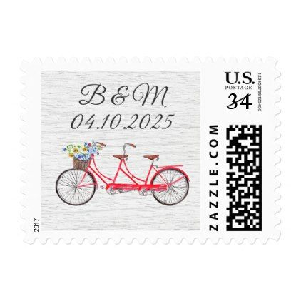 #Country Watercolor Bike Postage for Postcards - #country gifts style diy gift ideas