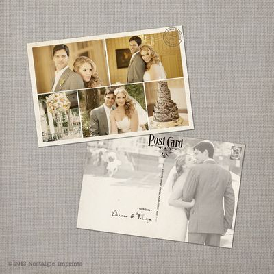 Trista - 4x6 Vintage Wedding Thank You Postcard