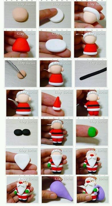 Kerstman maken van klei