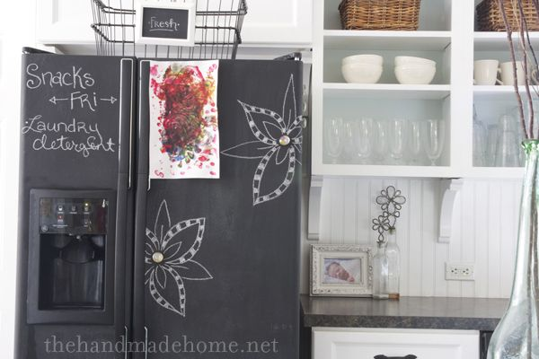 what a fun idea! paint your old fridge with chalkboard paint :)