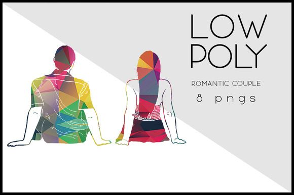 Low Poly Romantic Couple by Kaazuclip on @creativemarket