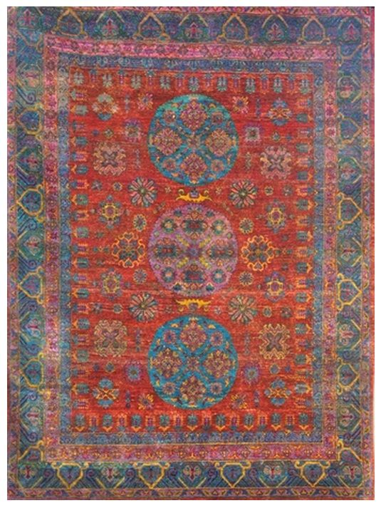 """Size: 7' 11"""" x 10' 10"""" Construction: Hand Knotted. Material: Silk. Colors:Red, Blue, Purple, Gold. Collection: MG. Origin: India. Description: Sari Silk."""