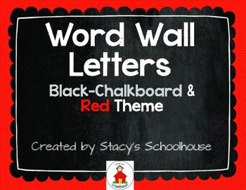 Make a darling word wall! This download contains all 26 letters of the alphabet on a chalkboard background. The consonants are in red and the vowels are in beige. It goes very will with a black, red, white and/or burlap themed classroom.  In my classroom, I glued the letters to the top of a strip ribbon (or you could use burlap) and then stapled them to the wall. I add my word wall words with a push pin to the ribbon.  They would also look fabulous stapled to the top of butcher paper or…