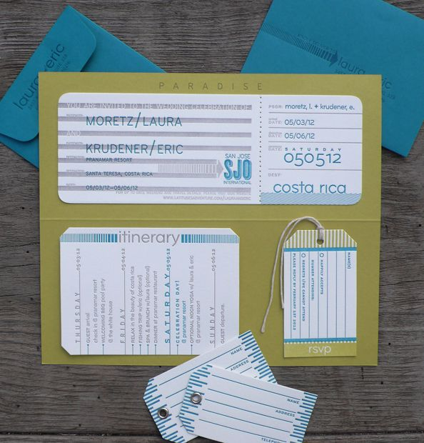 A really clever take on the boarding pass style invitation.