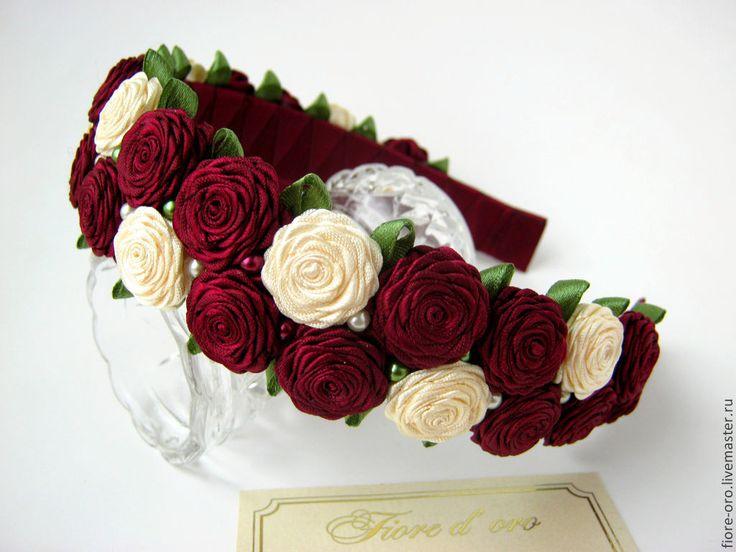 Купить Ободок Миниатюрный сад - ободок для волос, ободок с цветами, украшения ручной работы