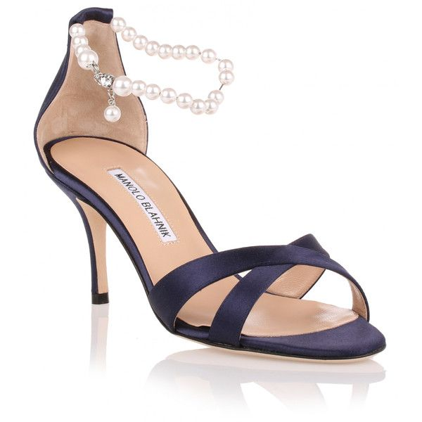 Manolo Blahnik Calla Pearl Navy Satin Sandal ($500) ❤ liked on Polyvore featuring shoes, sandals, blue, navy blue high heel sandals, navy high heel sandals, navy sandals, pearl sandals and manolo blahnik sandals
