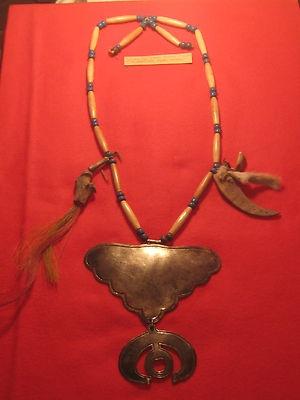 North American Fur Trade Silver Gorget on Bead Necklace | eBay