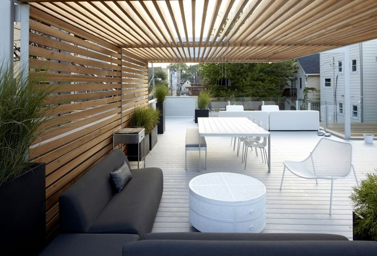 Slatted wood to enclose structure but to allow light to come in.