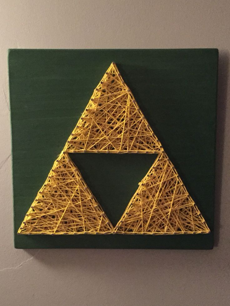 Zelda triforce nail and string art https://www.etsy.com/listing/265269637/nail-string-triforce