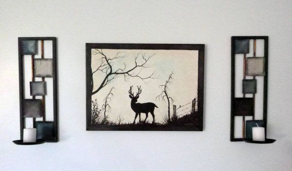 Deer standing strong. Rustic 12 x 16 Acrylic on by ArtbySimplyMe