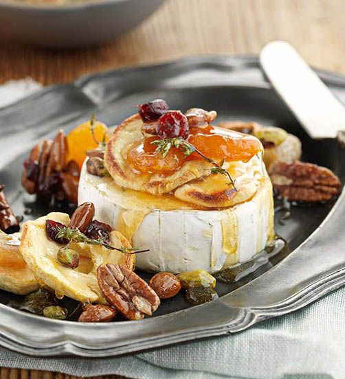Baked Brie with honey toffee drizzle. A simple but beautiful sweet and savoury starter.