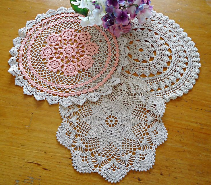 3 Crocheted Doilies Crocheted Doily Ecru Vintage Doilys Doilies  G13 by TreasureCoveAlly on Etsy