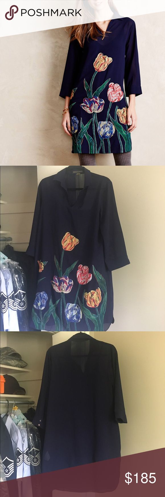 Painted Tulips Tunic By Pankaj and Nidhi. EUC.  No offers, please. Prices firm. Every item sold as-is; please ask any questions prior to purchasing. Items will be pressed where applicable prior to shipping. Anthropologie Dresses