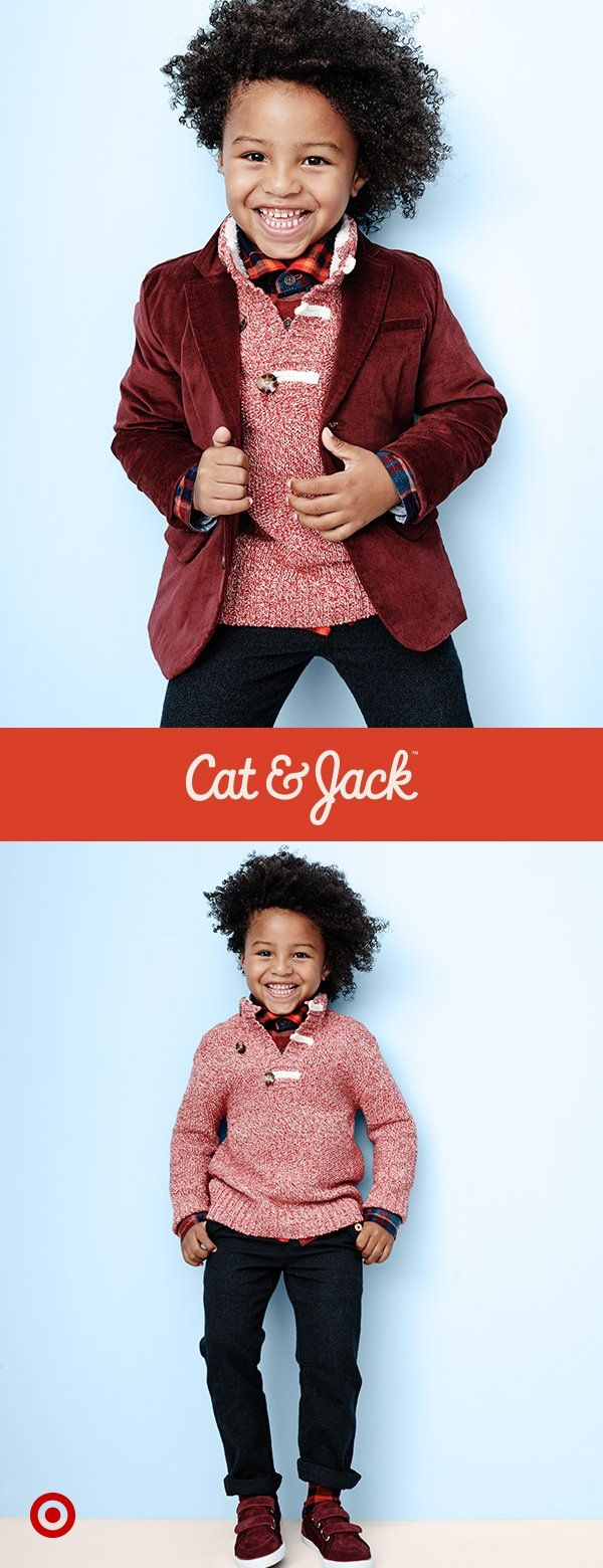 Cat & Jack's holiday collection has tons of cute picks for toddler boys, like this red sweater! It's cute enough to wear for everything from parties to school, with dress pants and boots or jeans and sneakers. Plus, layer on a dark red blazer to keep him extra warm during the festivities. Everything has Cat & Jack's one year guarantee*, so he can wear them all until he outgrows them. *with receipt
