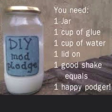 Have an project you are eager to make but don't wanna make a trip to the store for mod podge. Make your own!!