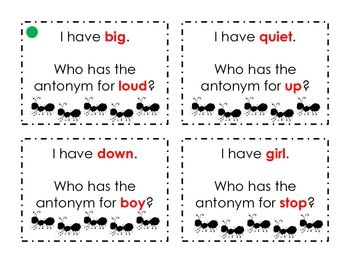 """""""I Have, Who Has?"""" Antonyms- great game for teaching antonyms or any other literacy definitions"""