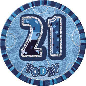 Blue Glitz 21st Birthday Giant 6 Badge