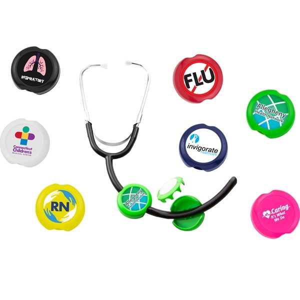 Nurse's Week-Great idea!: Two Piece Anti-Microbial Saucer Stethoscope ID Tag. Bonus: Fits assorted sizes!