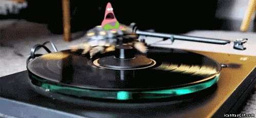 Surprised by this turtle on a record player.   Surprised Patrick Is Surprised By Everything On TheInternet
