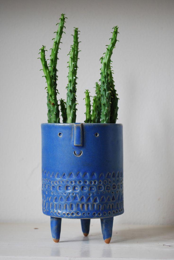 Blue face tripod planter