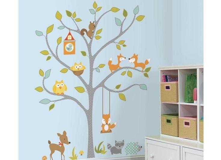 Väggdekor Träd med skogens vänner, RoomMates XL