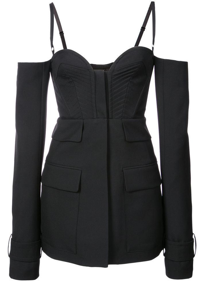 Vera Wang spaghetting strapped long sleeeved jacket