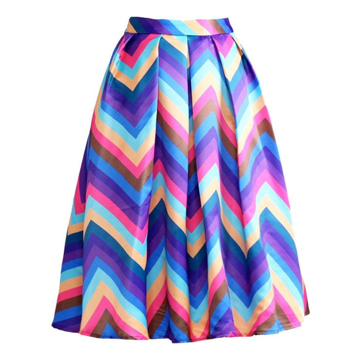 New Rainbow Color Striped Printed Vintage High Waist Pleated Midi Women Skirts ** This is an Amazon Affiliate link. For more information, visit image link.