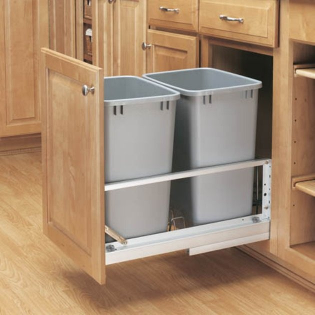 Pull Cabinet Double Trash Can Kitchen Ideazz Pinterest